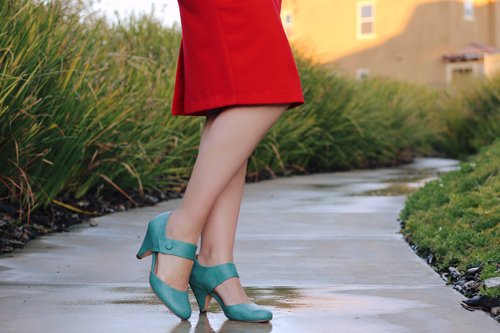 Stop Staring Rosemary Dress in Red Restricted Shoes Chatroom Heel in Blue
