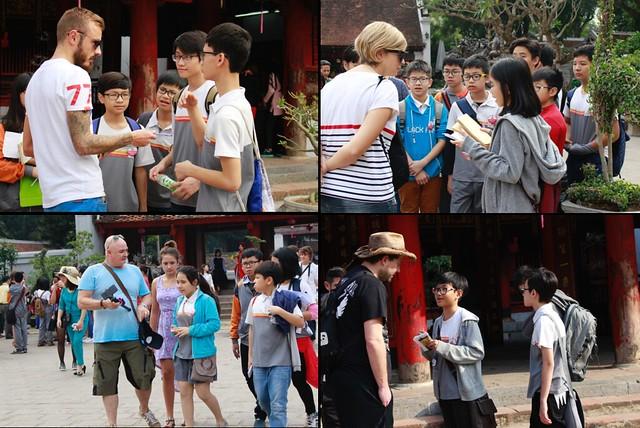 Hoạt động tăng cường giao tiếp cho học sinh với người nước ngoài tại Văn Miếu Quốc Tử Giám