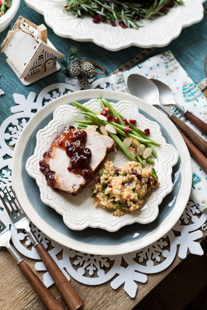 Cranberry Fig Roast Pork with Cranberry Orange Risotto www.pineappleandcoconut.com #AD #DiscoverWorldMarket