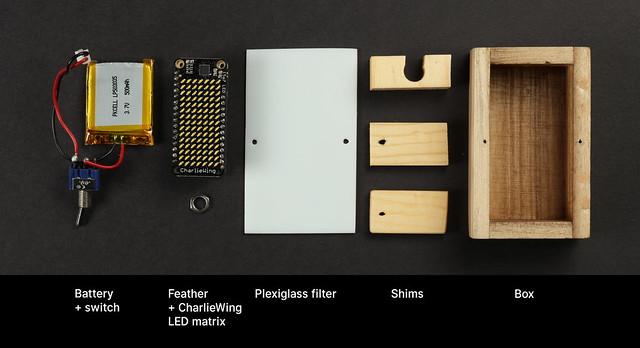 The parts for the box breathing box, neatly arranged