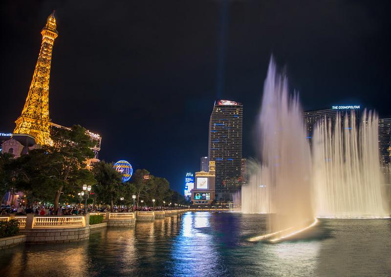 Bellagio Fountains and the Eiffel Tower at Paris  Las Vegas