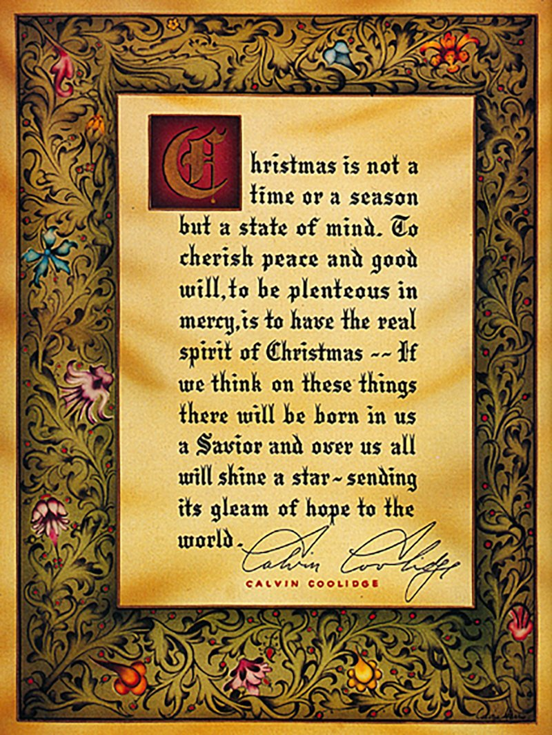Christmas card from U.S. President Calvin Coolidge, 1927
