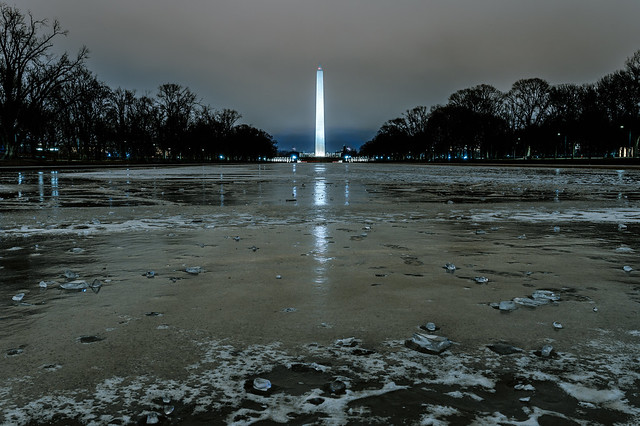 Ice on the Reflecting Pool