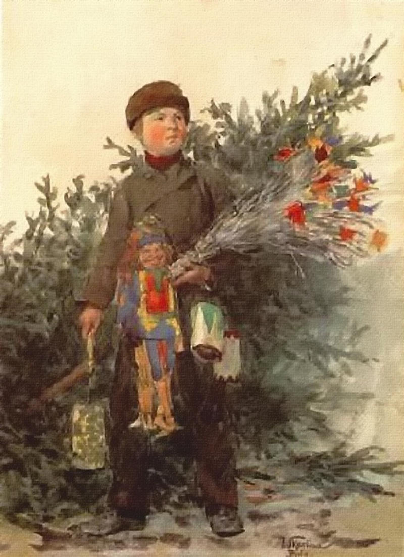 Berlin boy from the Christmas market by Franz Skarbina, c. 1890