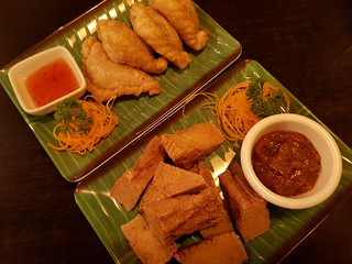 Samosas and Fried Tofu with Peanut Sauce from Khot Thai