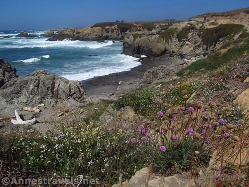 Views of the cliffs near Glass Beach, California