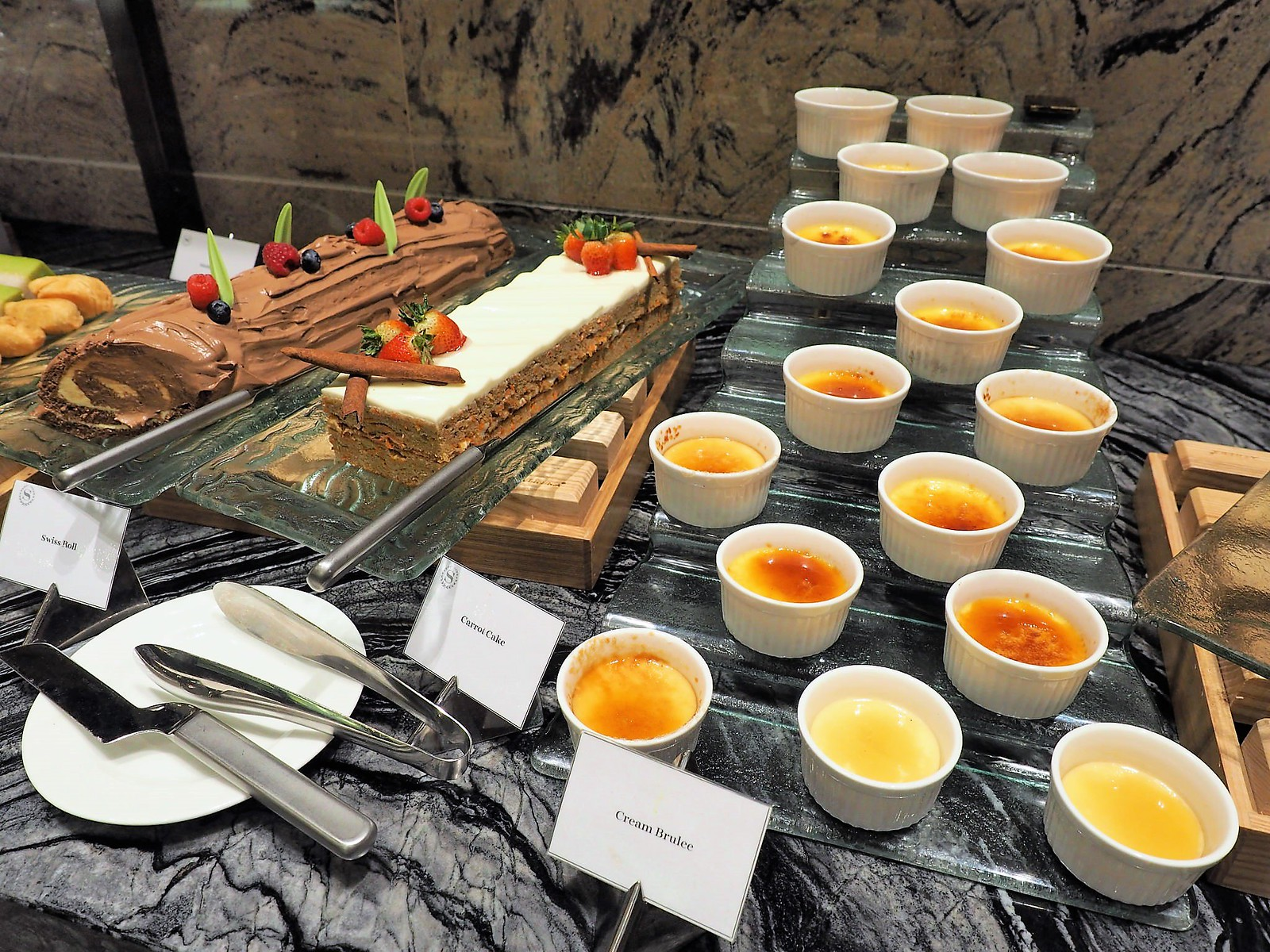 Creme Brulee, Carrot Cake and Swiss Roll
