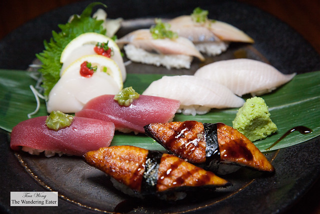Nigiri sushi - Unagi Fresh Water Eel, Big Eye Tuna with Kisame Wasab, Yellowtail, Aji Spanish Mackerel and Scallop sashimi