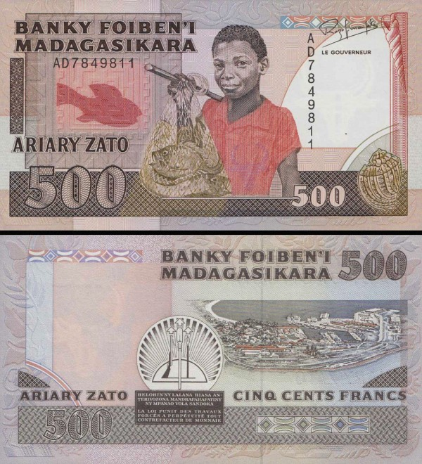 500 Frankov=100 Ariary Madagaskar 1988-93, P71