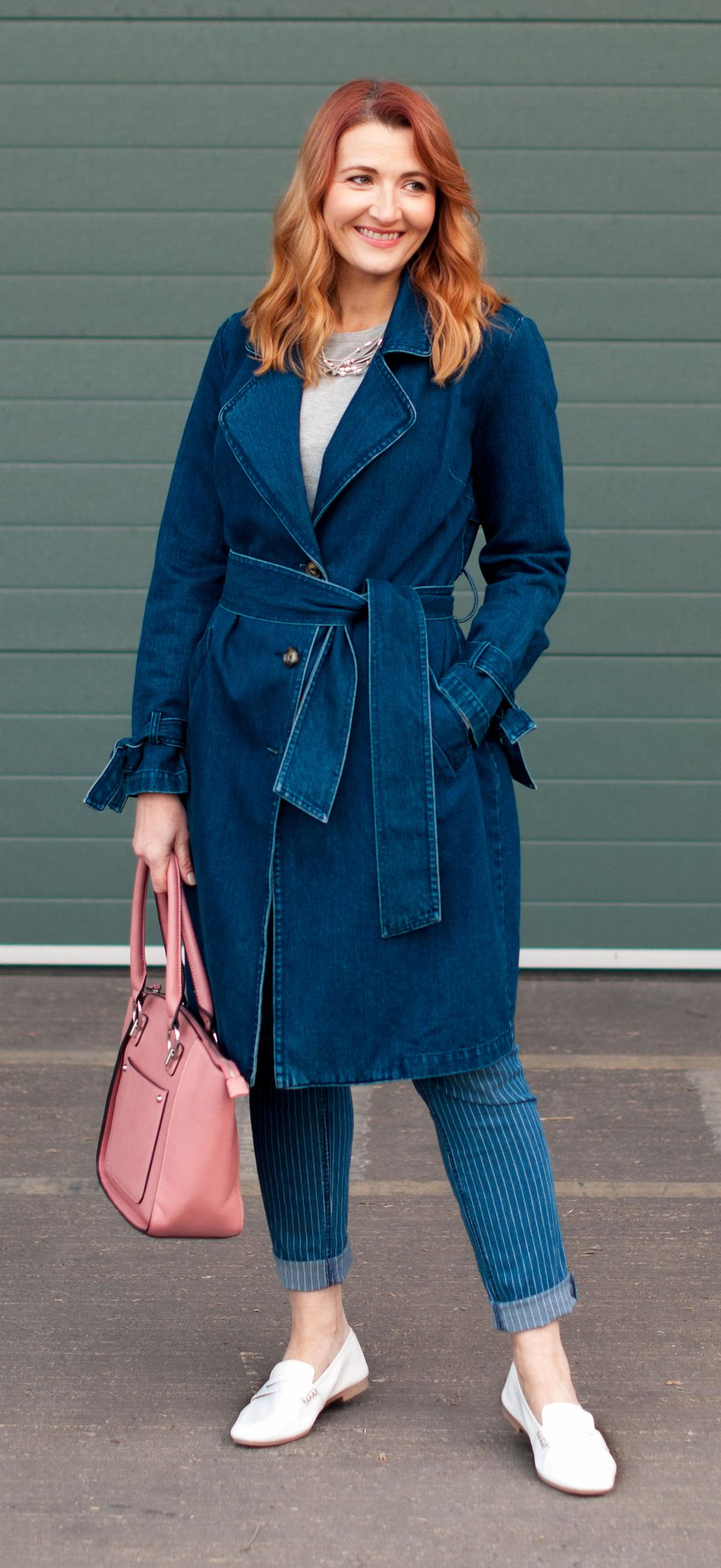 Winter to spring transitional outfit - Denim trench coat, pinstripe boyfriend jeans, white loafers, pink tote bag | Not Dressed As Lamb, over 40 style
