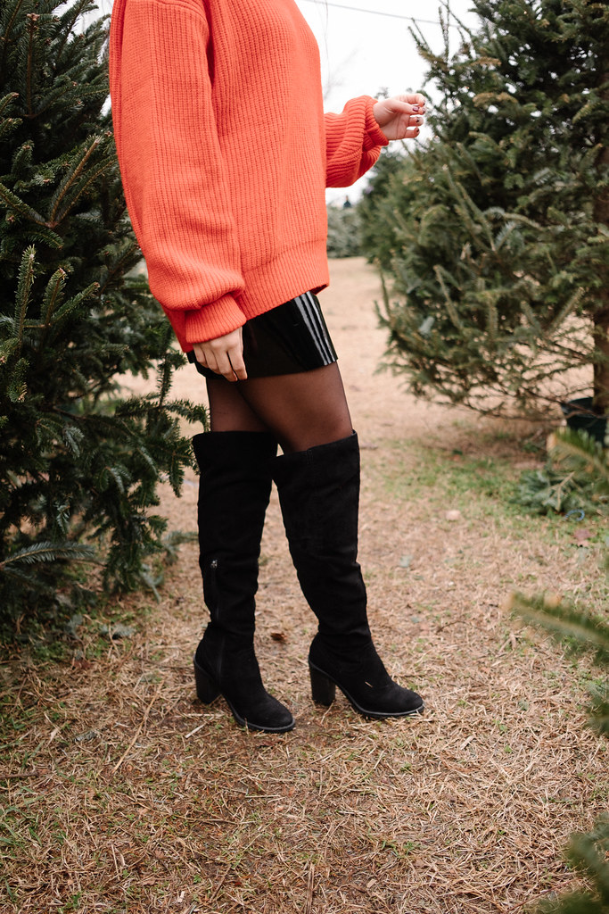 Priya the Blog, Nashville Fashion Blog, holiday outfit, Christmas outfit, Christmas tree farm outfit, red sweater holiday outfit, patent leather skirt, OTK boots, red chunky sweater