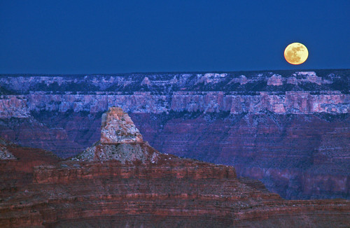 Super Moon Rising over Grand Canyon National Park - January 1, 2018