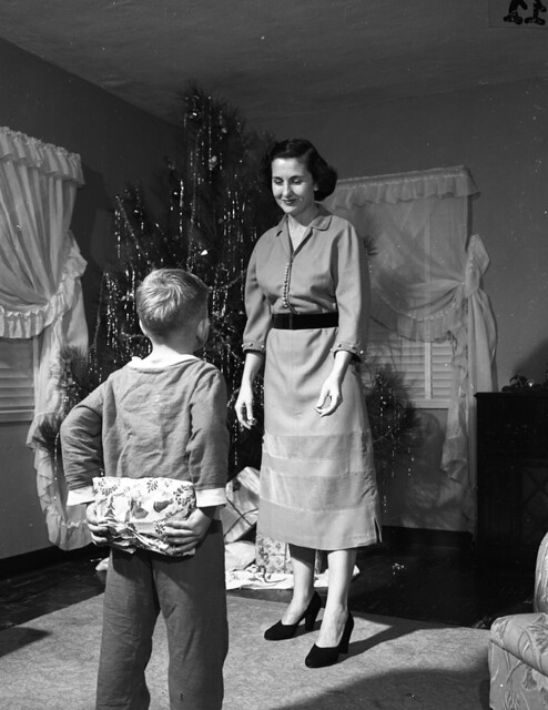 Merle Elizabeth Fritz and son shown during the Christmas season in Tallahassee