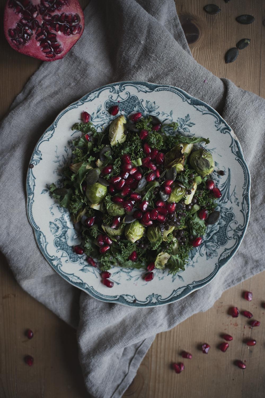 kale, brusselsprout & pommegranade sallad