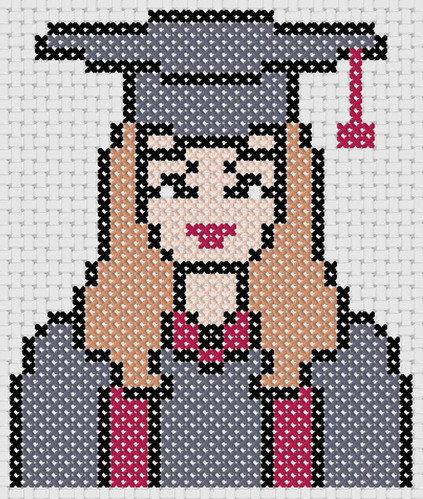 Preview of Modern cross stitch patterns: Graduate Girl