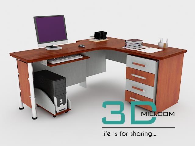 Office Tables 04   3D Mili   Download 3D Model   Free 3D Models   3D Model  Download