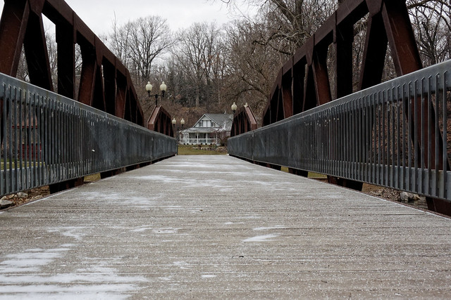 Snow on the Island Park Bridge