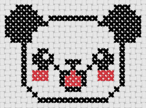Preview of Free simple cross stitch patterns: Happy Panda
