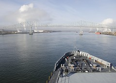 USS Frank Cable (AS 40) departs Portland, Dec. 21. (U.S. Navy/MC3 Heather C. Wamsley)