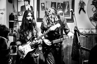 Italian hard rock musicians in the tiny music bar Alfonso's in Munich, Germany