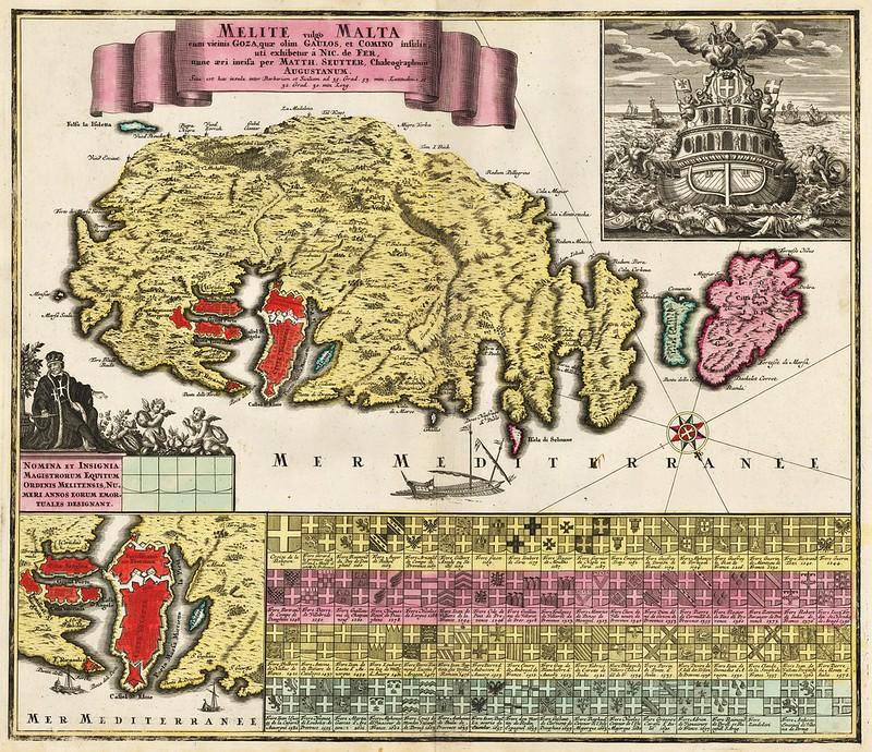 Matthaus Seutter - Melite vulgo Malta cum vicinis Goza, quae olim Gaulos, et Comino insulis uti exhibeteur a Nic. de Fer (c.1730)