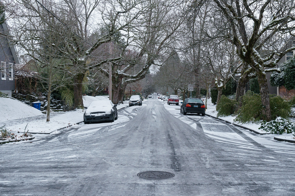 An ice-covered Siskiyou Street on Christmas morning in the Irvington neighborhood of Portland, Oregon