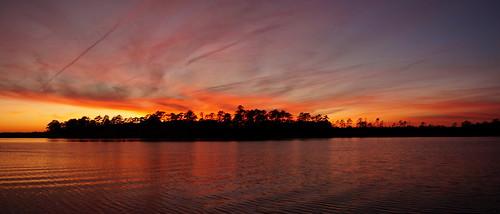 sunset spectacularsunsetsandsunrises cloudsstormssunsetssunrises cloudscape clouds redclouds creek northwestcreek northcarolina sony sonya58 sonyphotographing panorama