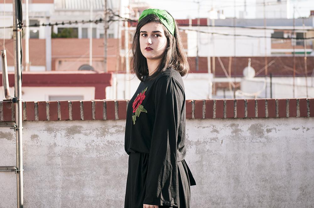 something fashion blogger valencia spain influencer firenze zaful collaboration maxidress black total headband DIY_0250