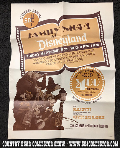Vintage 1972 SDACC Night at Disneyland Poster - Country Bear Collector Show #136