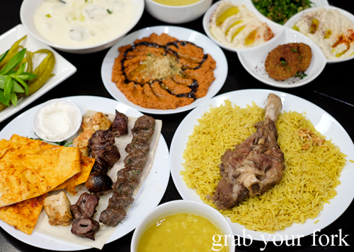 Middle Eastern skewers, Syrian muhamara, and Jordanian mansaf at Al Shami in Merrylands