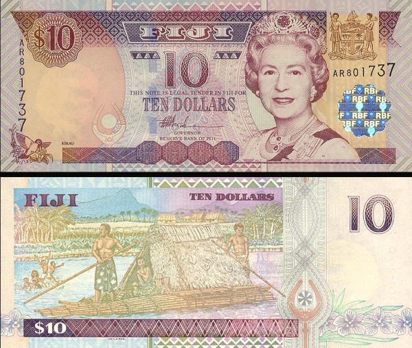 10 fidžijských dolárov Fidži 2002, P106a