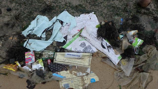Fish farm trash washed up at Pasir Ris Park shores