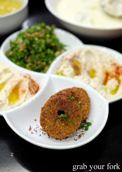 Falafel, hummus, tabouli and baba ghanouj at Al Shami in Merrylands