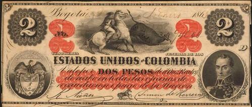 1863 Estados Unidos de Colombia. 2 Pesos banknote