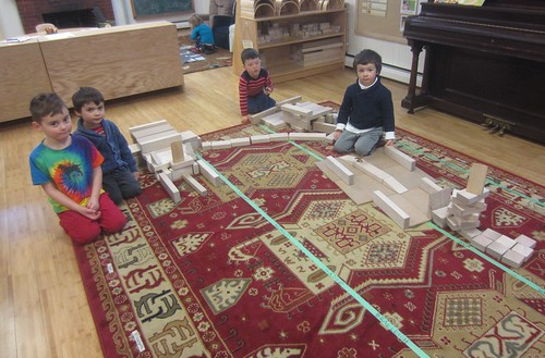 boys building with blocks