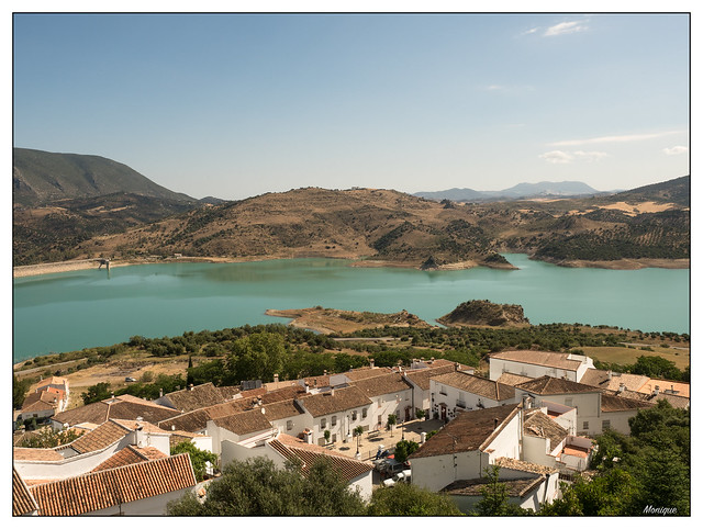 View over Zahara and the lake. Andalusia. Spain.