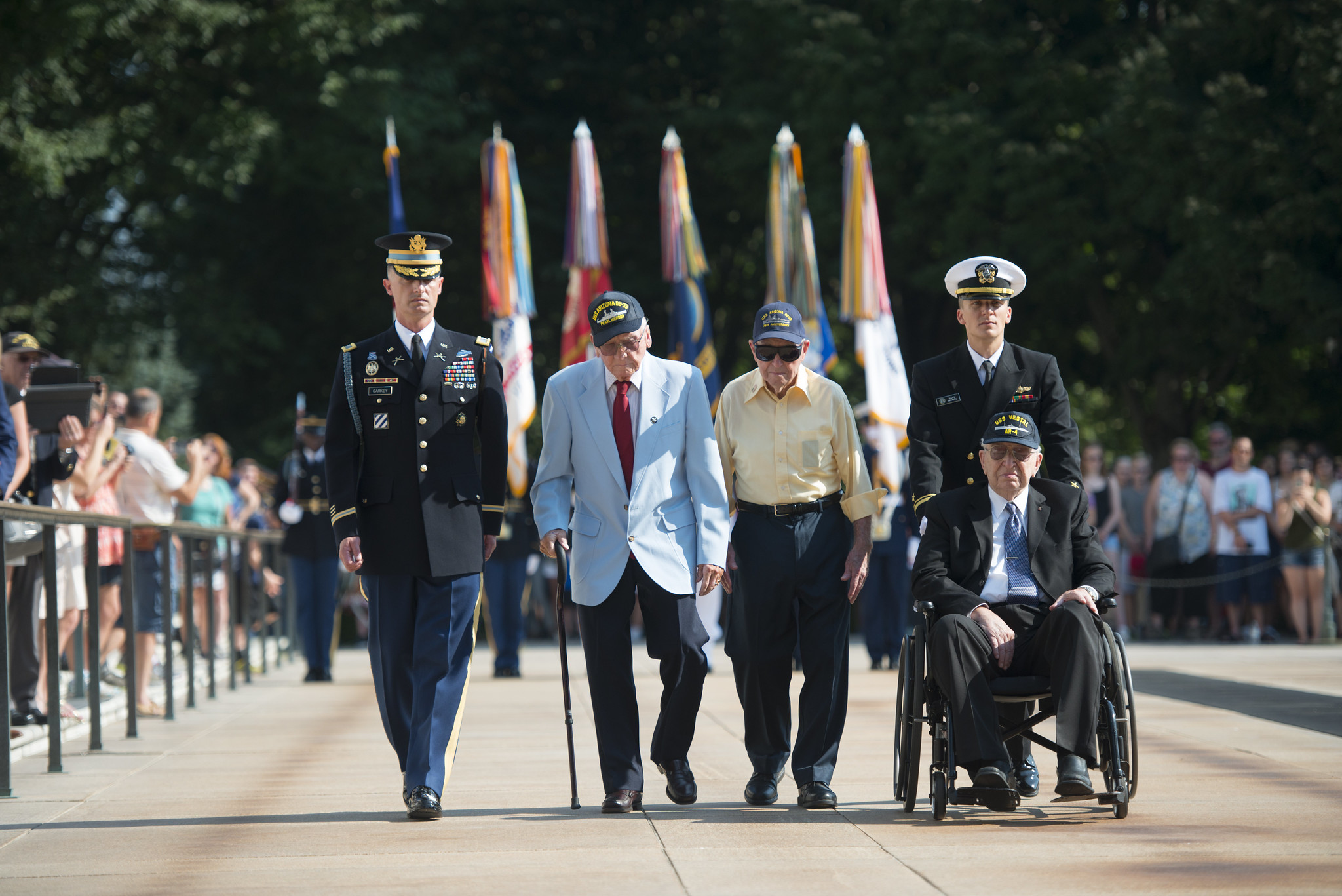 USS Arizona Survivors Participate in an Armed Forces Wreath Laying Ceremony at the Tomb of the Unknown Soldier