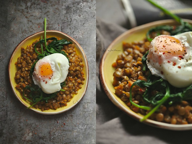 lentil stew with spinach and poached egg