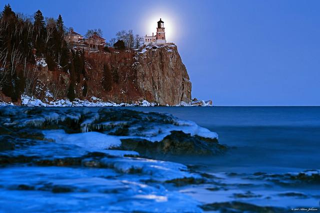 New Year Moonrise at Split Rock Lighthouse
