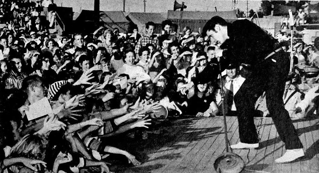 Elvis Presley performing live at the Mississippi-Alabama Fairgrounds in Tupelo, September 26, 1956.