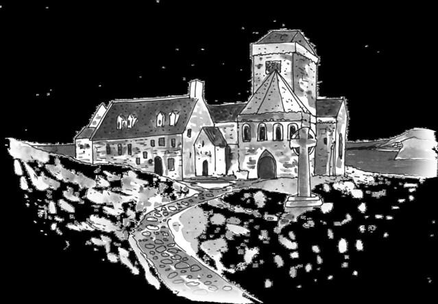 Ilustración inspirada en la abadía de Iona