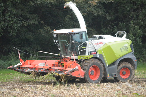 Claas Jaguar 970 Self Propelled Forage Harvester with a Kremper 12 Row Maize Header