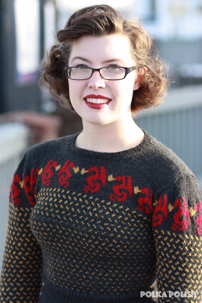 Colorwork dragon knit sweater