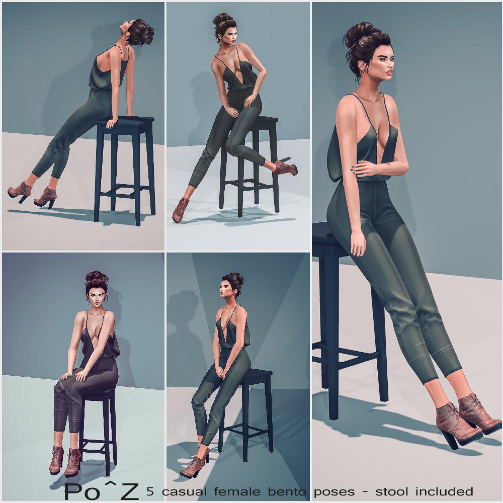 5 New female casual bento poses @ Po^Z ( stool included ) - TeleportHub.com Live!