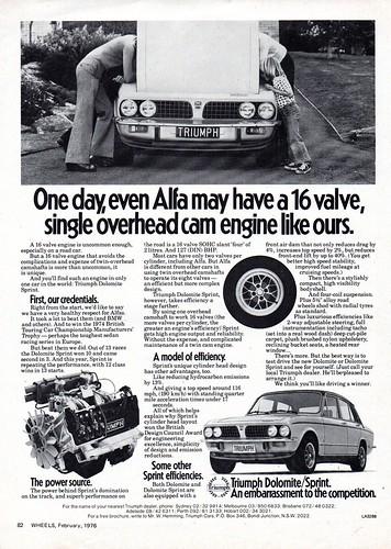 1976 Triumph Dolomite Sprint Sedan Aussie Original Magazine Advertisment