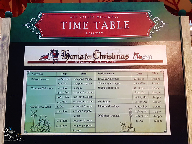 mid valley christmas 2017 time table