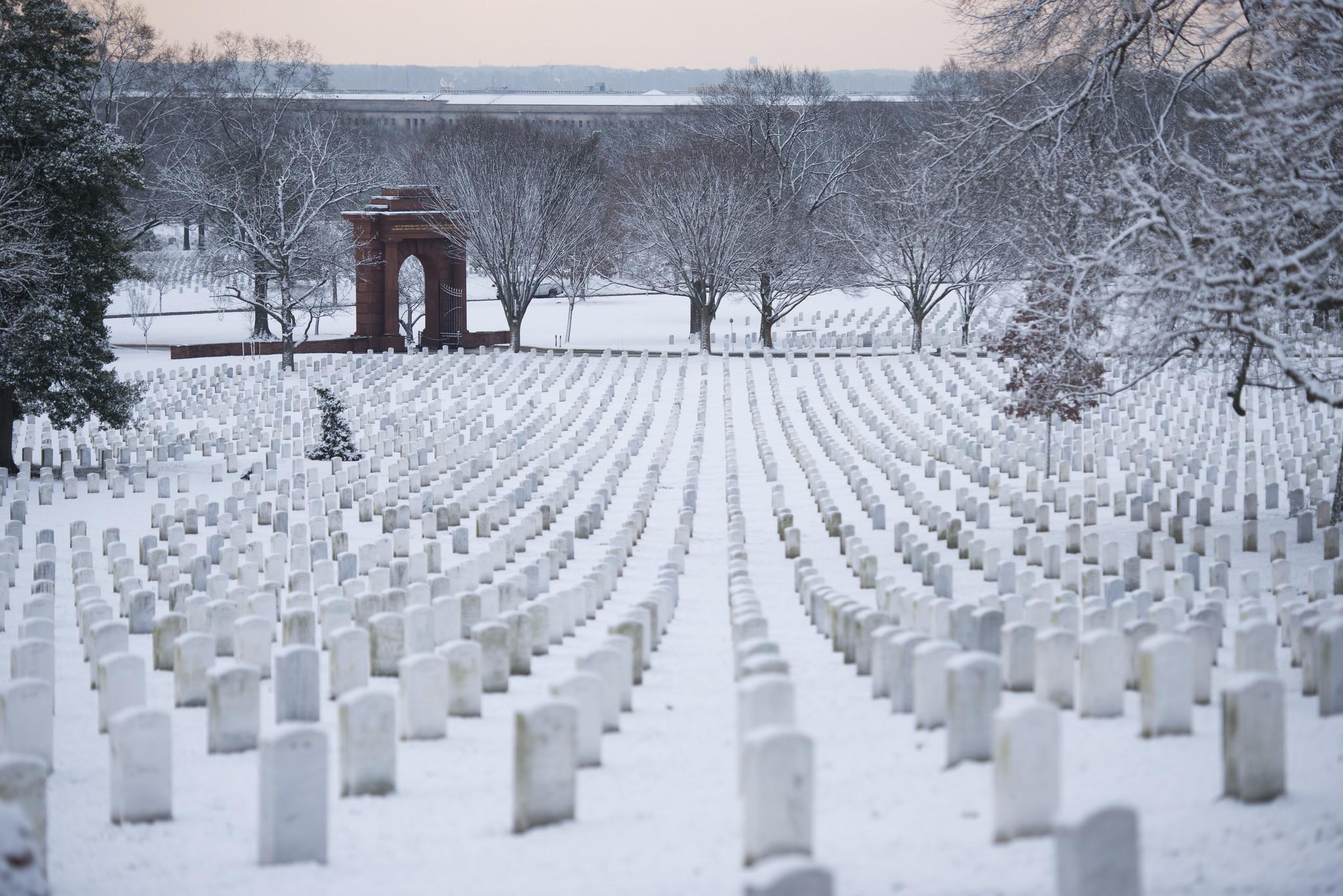 Snow blankets Arlington National Cemetery