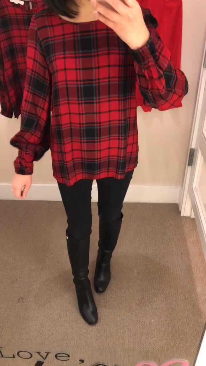 LOFT Plaid Blouson Sleeve Top, size XS regular