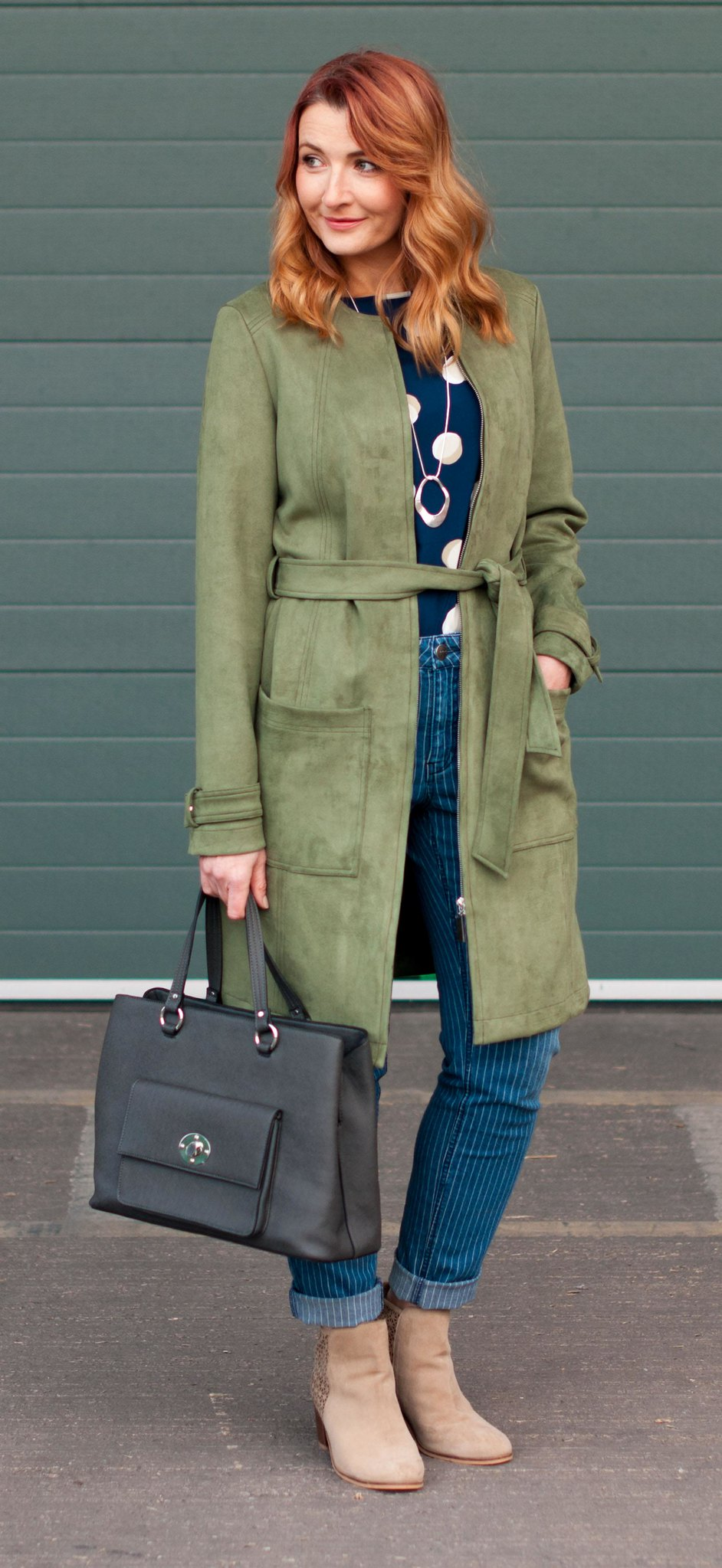 Winter to spring transitional outfit - khaki green suede jacket, spotty top, pinstripe boyfriend jeans, stone ankle boots | Not Dressed As Lamb, over 40 style
