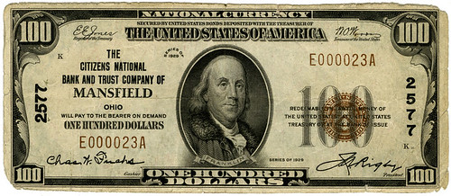 Masnfield Ohio $100 National Bank Note